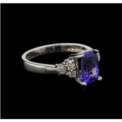 1.74 ctw Tanzanite and Diamond Ring - 14KT White Gold