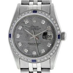 Rolex Mens Stainless Steel Meteorite Diamond And Sapphire Datejust Wristwatch