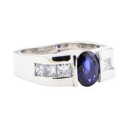 2.18 ctw Sapphire And Diamond Ring - 18KT White Gold