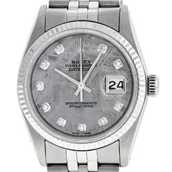 Rolex Mens Stainless Steel Meteorite Diamond 36MM Datejust Wristwatch