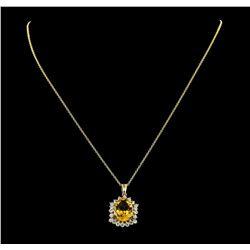 4.82 ctw Citrine Quartz and Diamond Pendant With Chain - 14KT Yellow Gold