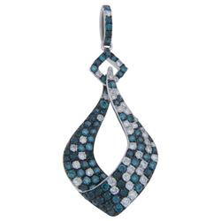 14k White Gold 1.39CTW Diamond and Blue Diamonds Pendant, (SI/H)