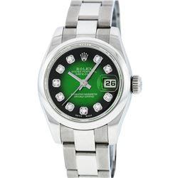 Rolex Ladies Stainless Steel Green Vignette Diamond Quickset Datejust Wristwatch