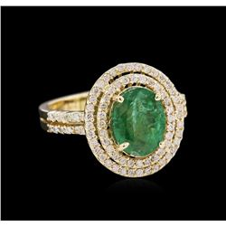 1.78 ctw Emerald and Diamond Ring - 14KT Yellow Gold