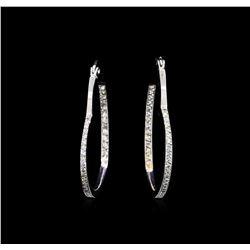 1.50 ctw Heart Shape Hoop Earrings - 14KT White Gold