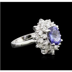 1.70 ctw Tanzanite and Diamond Ring - 14KT White Gold