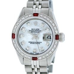 Rolex Ladies Stainless Steel MOP Diamond & Ruby 26MM Datejust Wristwatch