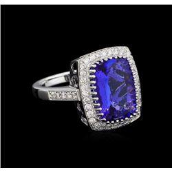 14KT White Gold 5.95 ctw Tanzanite and Diamond Ring