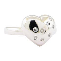 0.20 ctw Diamond Heart Shaped Ring - 14KT White Gold