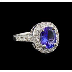 14KT White Gold 2.93 ctw Tanzanite and Diamond Ring