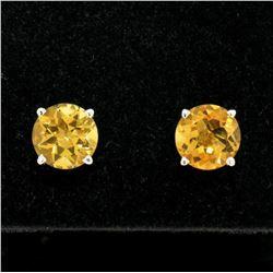 14k White Gold 2.16 ctw Round Citrine  Simple 7.10mm Stud Earrings