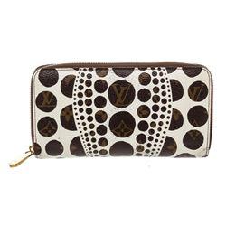 Louis Vuitton White Monogram Kusama Pumpkin Dot Zippy Wallet