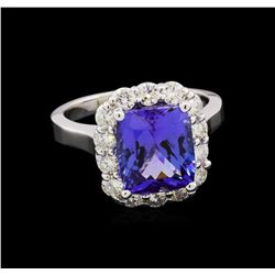 4.71 ctw Tanzanite and Diamond Ring - 14KT White Gold