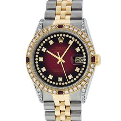 Rolex Mens 2 Tone 14K Lugs Red Vignette Diamond String & Ruby Datejust Wristwatc