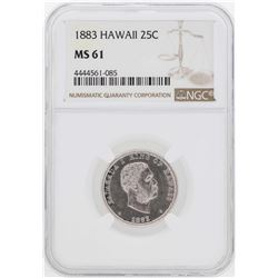 1883 Kingdom of Hawaii Quarter Coin NGC MS61