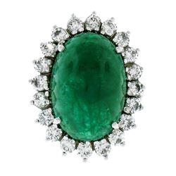 18K White Gold 17.38 ctw GIA Large Cabochon Emerald & Diamond Oval Cocktail Ring