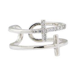 0.20 ctw Diamond Double Cross Motif Toe Cuff Ring - 14KT White Gold