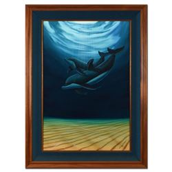 A Dolphin Love (With Reef) by Wyland Original