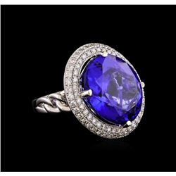 18KT White Gold GIA Certified 30.19 ctw Tanzanite and Diamond Ring