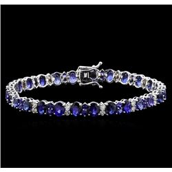 18.00 ctw Blue Sapphire Bracelet - 14KT White Gold