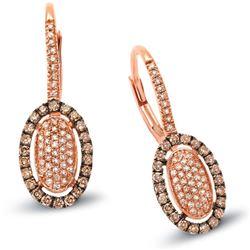 14k Rose Gold  0.57CTW Diamond and Brown Diamonds Earrings