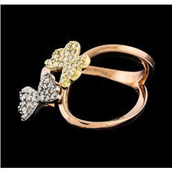 0.32 ctw Diamond Ring - 14KT Tri-Tone Gold