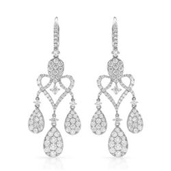18k White Gold 3.93CTW Diamond Earrings, (VS2/G)