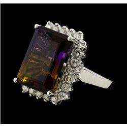 11.78 ctw Ametrine Quartz and Diamond Ring - 14KT White Gold