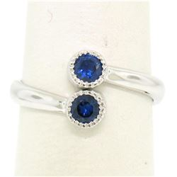 14k White Gold Round Bezel Set Sapphire Two Stone Simple Bypass Ring