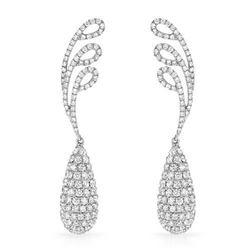 18k White Gold 4.80CTW Diamond Earrings, (SI1/G-H)