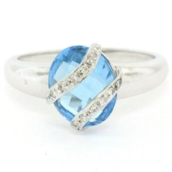 14K White Gold 3.57 ctw Pave Diamond & Caged Checkerboard Oval Blue Topaz Ring