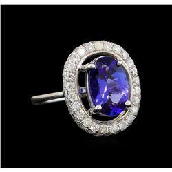 14KT White Gold 2.96 ctw Tanzanite and Diamond Ring