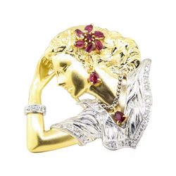 0.79 ctw Ruby and Diamond Pendant-Pin - Platinum and 18KT Yellow Gold