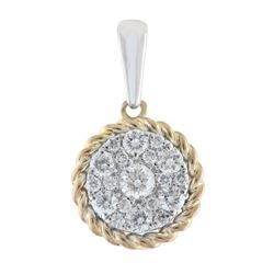 14K Two-Tone  Gold 0.34CTW Diamond Pendant Necklace, (I1-I2/H-I)