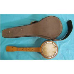 SMALL WOODEN BANJO WITH CASE (CASE IN POOR SHAPE-NO STRINGS OR TUNING PEGS)