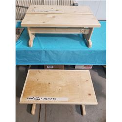 "CHILDS TABLE 32X17X20"" C/W TWO BENCHES 32X10X12"""
