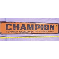 'CHAMPION' BRAND METAL ADVERTISING SIGN