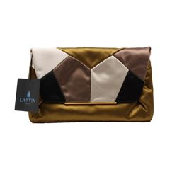 New Designer Lanvin Satin Patchwork Clutch with Chain and Tags