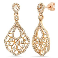 14k Rose Gold 0.87CTW Diamond Earrings, (I1/I)