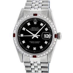 Rolex Mens Stainless Steel Black Diamond & Ruby Datejust Wristwatch