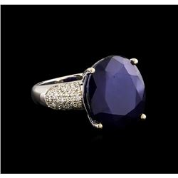 14KT White Gold 17.02 ctw Sapphire and Diamond Ring