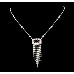 15.20 ctw Kunzite and Diamond Necklace - 18KT White Gold