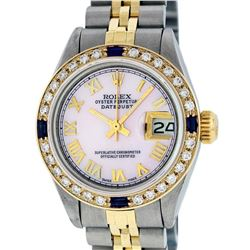 Rolex Ladies 2 Tone Pink Mother Of Pearl Roman & Sapphire Datejust Wristwatch