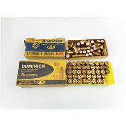 DOMINION 32 SMITH AND WESSON BLANKS, 32 AUTO AMMO