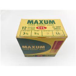 "CIL MAXUM 12 GAUGE 2 3/4"" # 2 SHOT SHOTGUN SHELLS"
