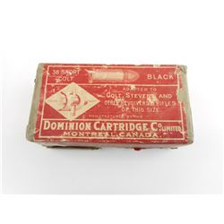 DOMINION CARTRIDGE CO .38 SHORT COLT BLACK POWDER AMMO