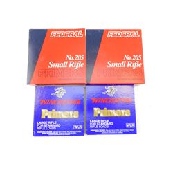 WINCHESTER LARGE RIFLE PRIMERS, FEDERAL SMALL RIFLE PRIMERS
