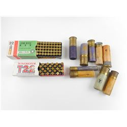 22 LONG RIFLE AMMO ASSORTED, 12 GA, 16 GA, 20 GA, .410 GA