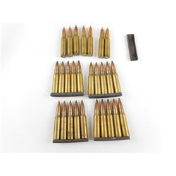 308 WIN ASSORTED AMMO, SOME ON STRIPPER CLIPS