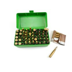 7.5 X 55 AMMO, STRIPPER CLIP, BRASS CASES